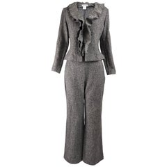 Georges Rech Womens Vintage Ruffled Wool Flared Pant Suit