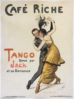"""""""Café Riche - Tango danse par Jack"""" Tango original vintage poster 1914"""
