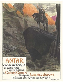 Original Antar, French Opera Theater vintage stone lithograph opera poster