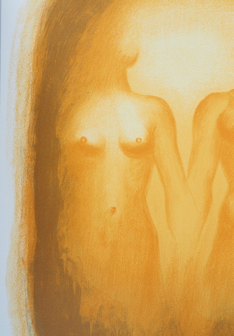 Love : The Couple - Original handsigned lithograph - Orange Figurative Print by Georges Rohner
