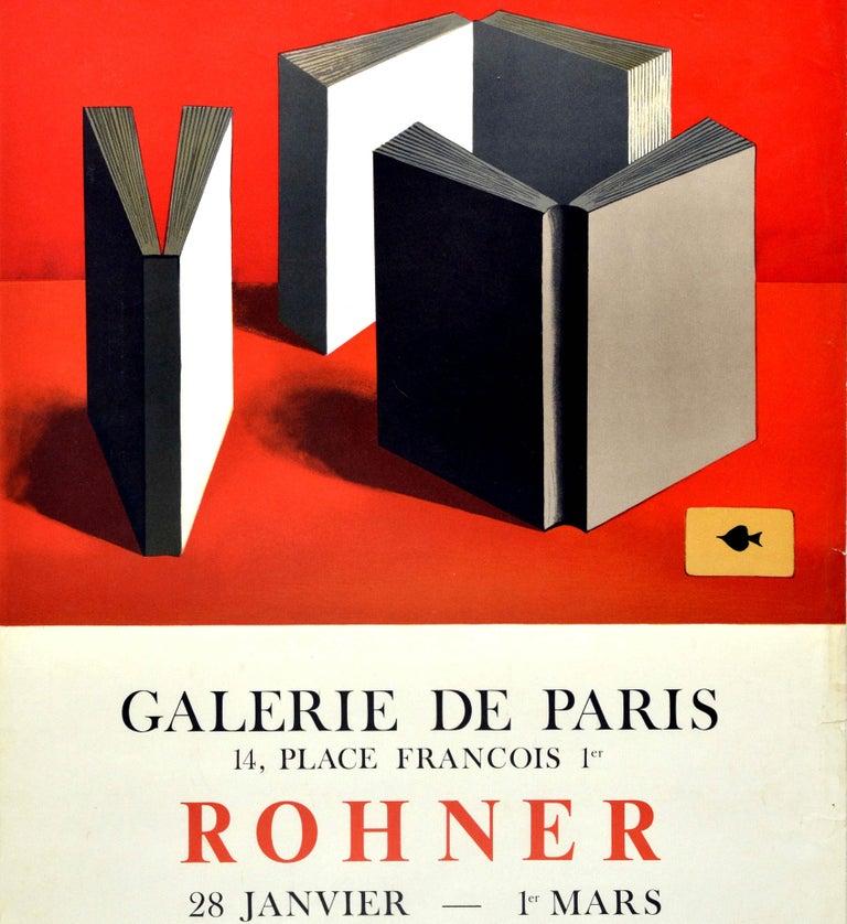 Original Vintage Art Exhibition Poster Rohner Paris Books Ace Of Spades Painting - Beige Print by Georges Rohner