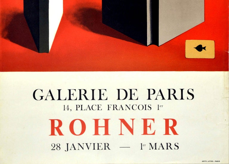 Original vintage art exhibition poster - Rohner - Galerie de Paris 14 Place Francois 1er 28 January to 1 March featuring artwork by the French painter Georges Rohner (1913-2000) showing three open books standing next to an Ace of Spades playing card