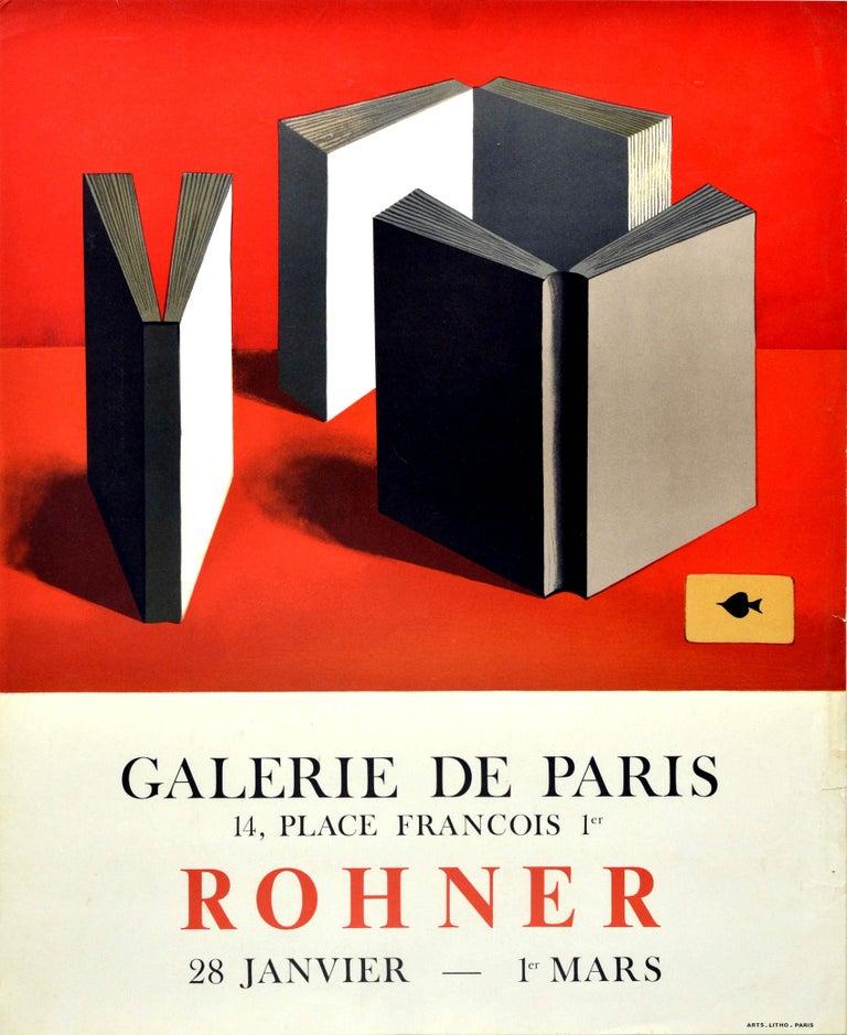 Georges Rohner Print - Original Vintage Art Exhibition Poster Rohner Paris Books Ace Of Spades Painting