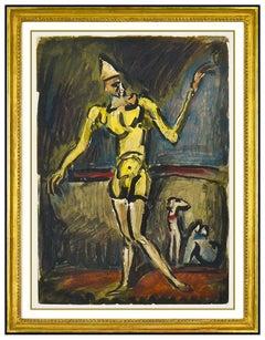 Georges Rouault Le Clown Jaune Color Etching Portrait Authentic Framed Artwork