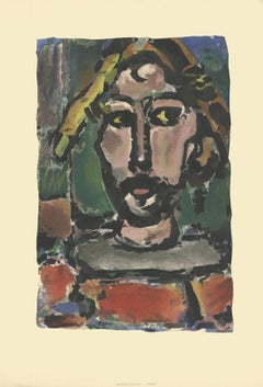 "Georges Rouault-Pierre-24.25"" x 16.5""-Lithograph-Green, Brown-man, paint"