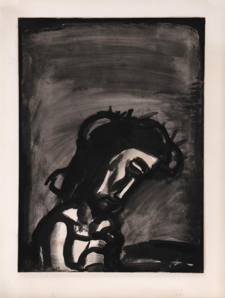 Artist: Georges Rouault, French (1871 - 1958) Title: Jesus Reviled from Miserere Year: 1923 Medium: Aquatint on Arches, signed in the plate Image Size: 21.5 x 17.75 inches Size: 25 x 20 in. (63.5 x 50.8 cm)