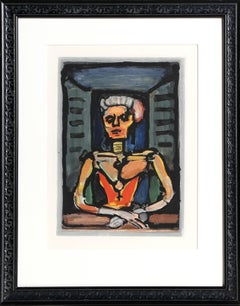 """Vielle Courtisane"", Art Nouveau Portrait Color Aquatint by Georges Rouault"