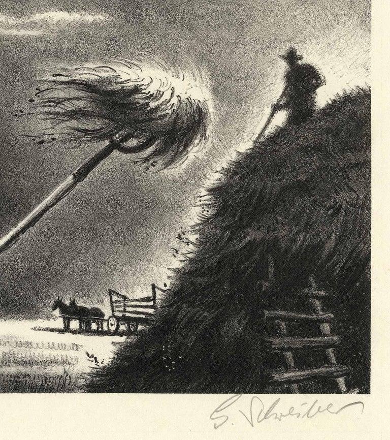 Haying - American Modern Print by Georges Schreiber