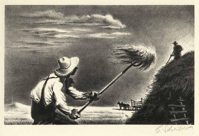 Haying - Gray Figurative Print by Georges Schreiber