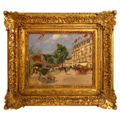 Georges Stein 'French 1870-1955' Signed Street Scene in Gilt Frame Oil on Board