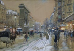 Evening-Porte Saint Denis, Paris - Impressionist Figures in Cityscape by G Stein