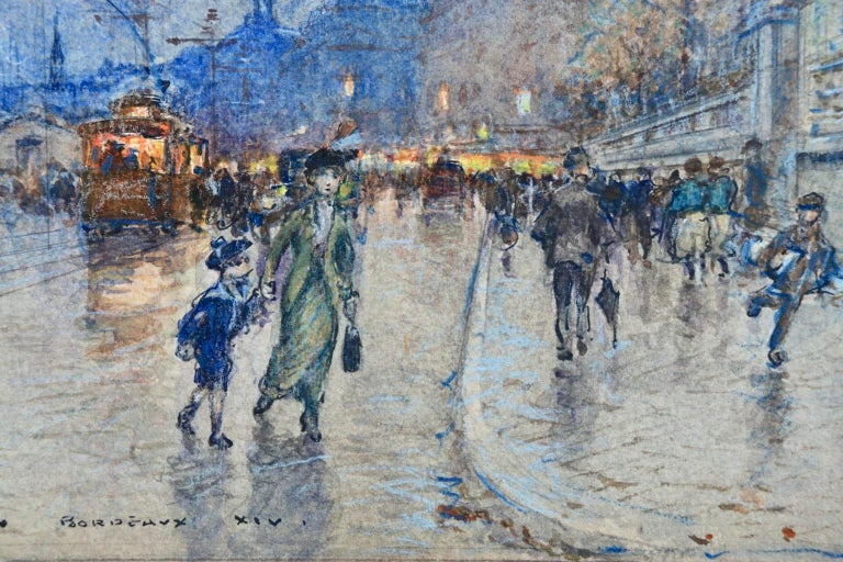 A wonderful watercolour on paper by French impressionist painter George Stein depicting a view of Quai Louis XVIII in Bordeaux on a rainy evening. The street is filled with people and the tram and moored boats can be seen in the background. Signed,