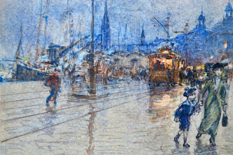 Evening - Quai Louis XVIII - Bordeaux - Impressionist Cityscape by G Stein  For Sale 1