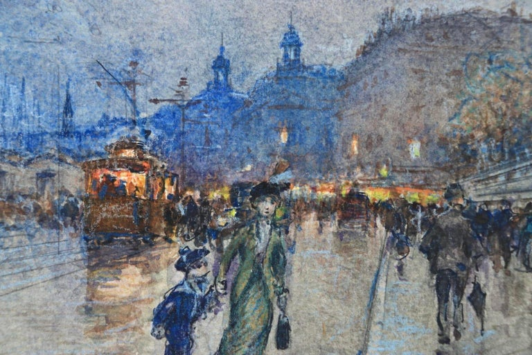 Evening - Quai Louis XVIII - Bordeaux - Impressionist Cityscape by G Stein  For Sale 3