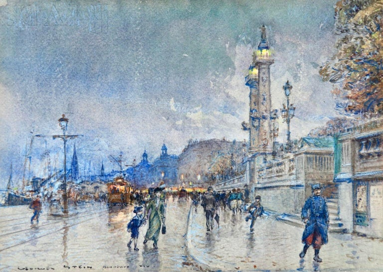 Georges Stein Figurative Painting - Evening - Quai Louis XVIII - Bordeaux - Impressionist Cityscape by G Stein