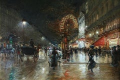 Folies Bergere - Impressionist Oil, Figures at Night Cityscape by Georges Stein