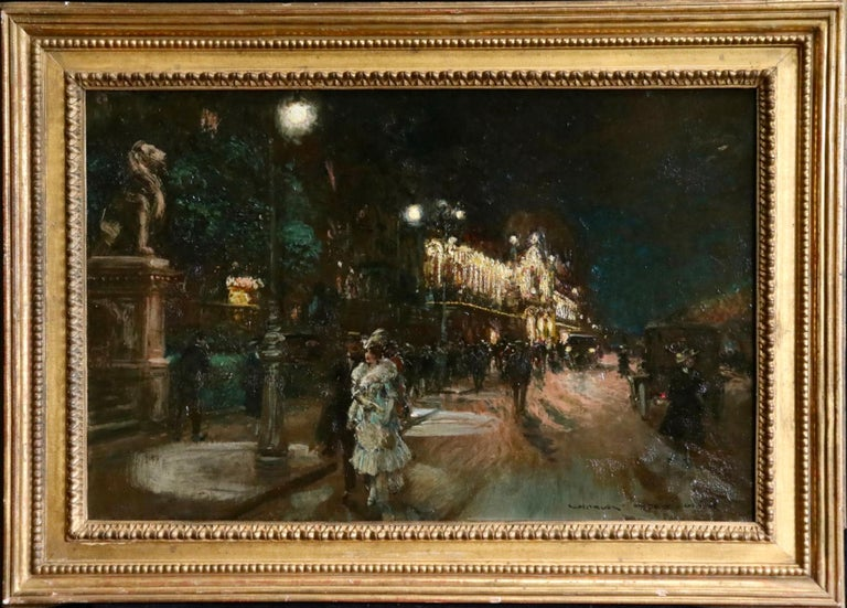 Le Grand Casino - Geneva - Evening - Oil, Figures at Night Cityscape by G Stein  For Sale 1