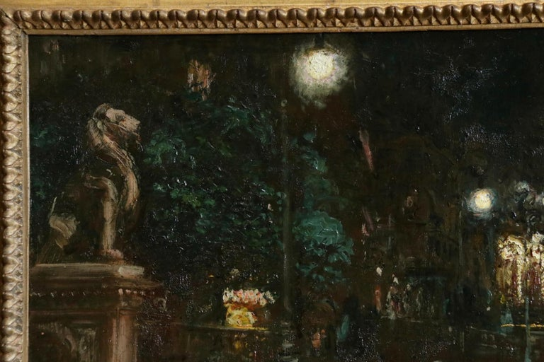 Le Grand Casino - Geneva - Evening - Oil, Figures at Night Cityscape by G Stein  - Impressionist Painting by Georges Stein