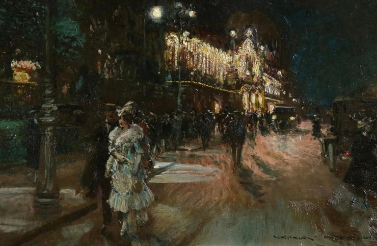 Le Grand Casino - Geneva - Evening - Oil, Figures at Night Cityscape by G Stein  - Black Figurative Painting by Georges Stein