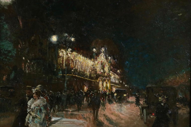 Le Grand Casino - Geneva - Evening - Oil, Figures at Night Cityscape by G Stein  For Sale 4