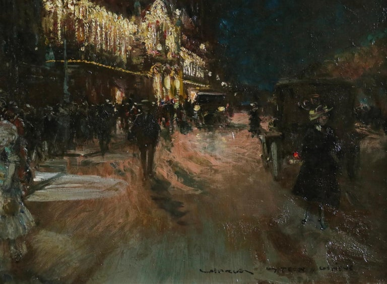 Le Grand Casino - Geneva - Evening - Oil, Figures at Night Cityscape by G Stein  For Sale 5