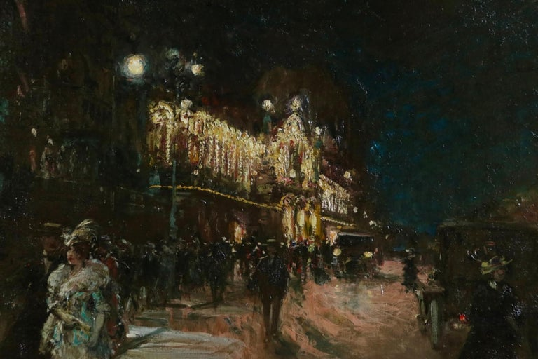 Le Grand Casino - Geneva - Evening - Oil, Figures at Night Cityscape by G Stein  For Sale 6