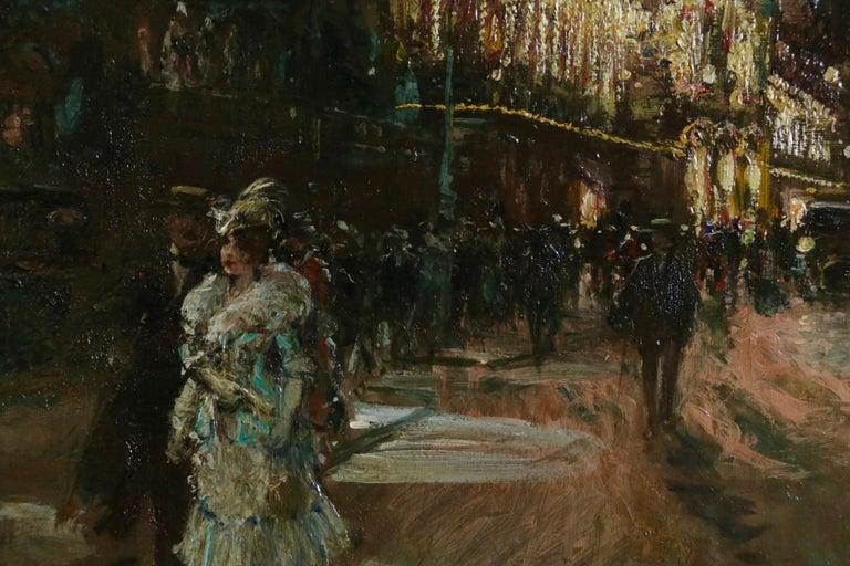 Le Grand Casino - Geneva - Evening - Oil, Figures at Night Cityscape by G Stein  For Sale 7
