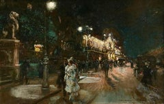 Le Grand Casino - Geneva - Evening - Oil, Figures at Night Cityscape by G Stein