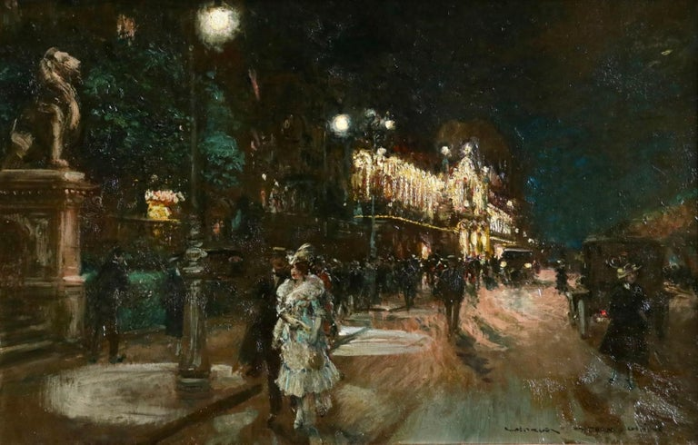 A stunning oil on canvas b George Stein depiciting elegantly dressed ladies and gentleman in the street outside the Grant Casino in Geneva. The painting is set at night and the casino is lit up by bright lights. Signed lower right and signed, titled