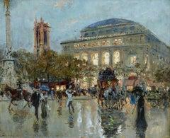 L'Opera Garnier - Paris - 19th Century Oil, Figures in Cityscape - Georges Stein