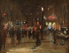 Paris - La Nuit - Impressionist Oil, Figures at Night Cityscape - Georges Stein