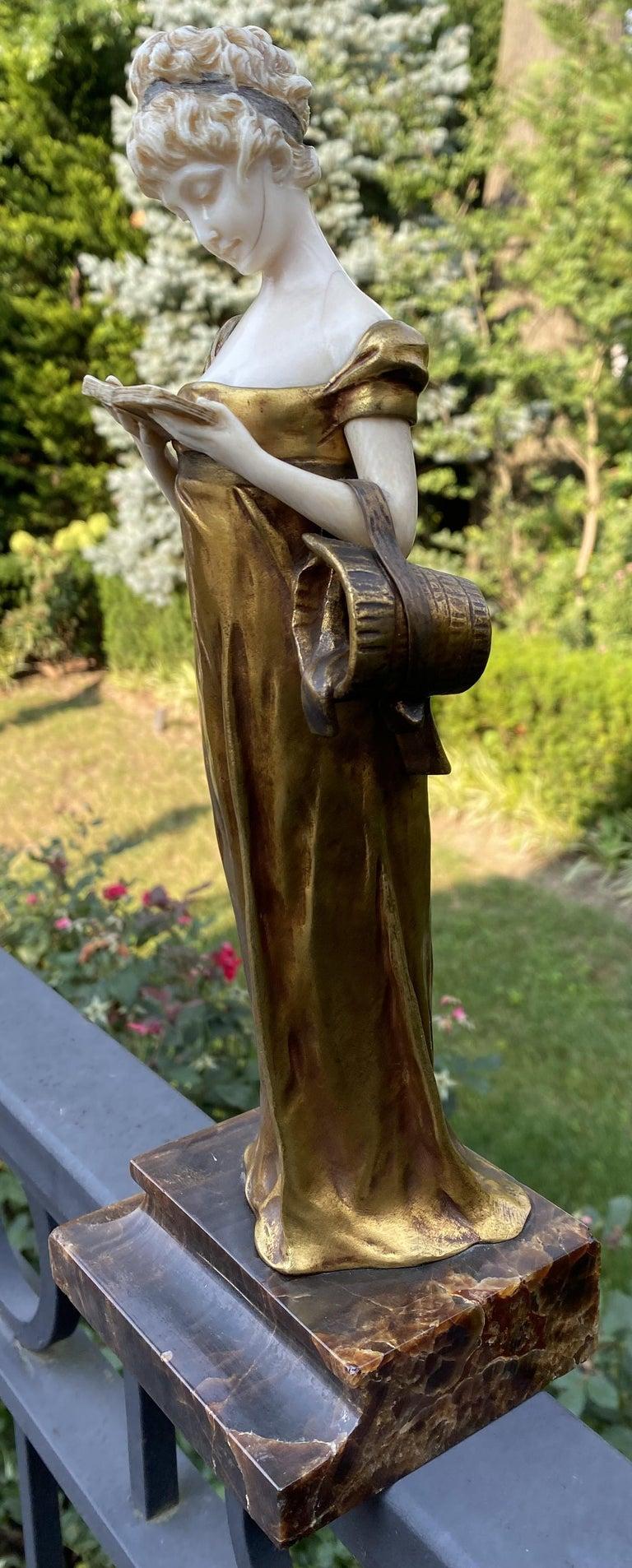 Georges Van Der Straeten, Book Reader, French Gilt Bronze Sculpture, 1888 For Sale 7