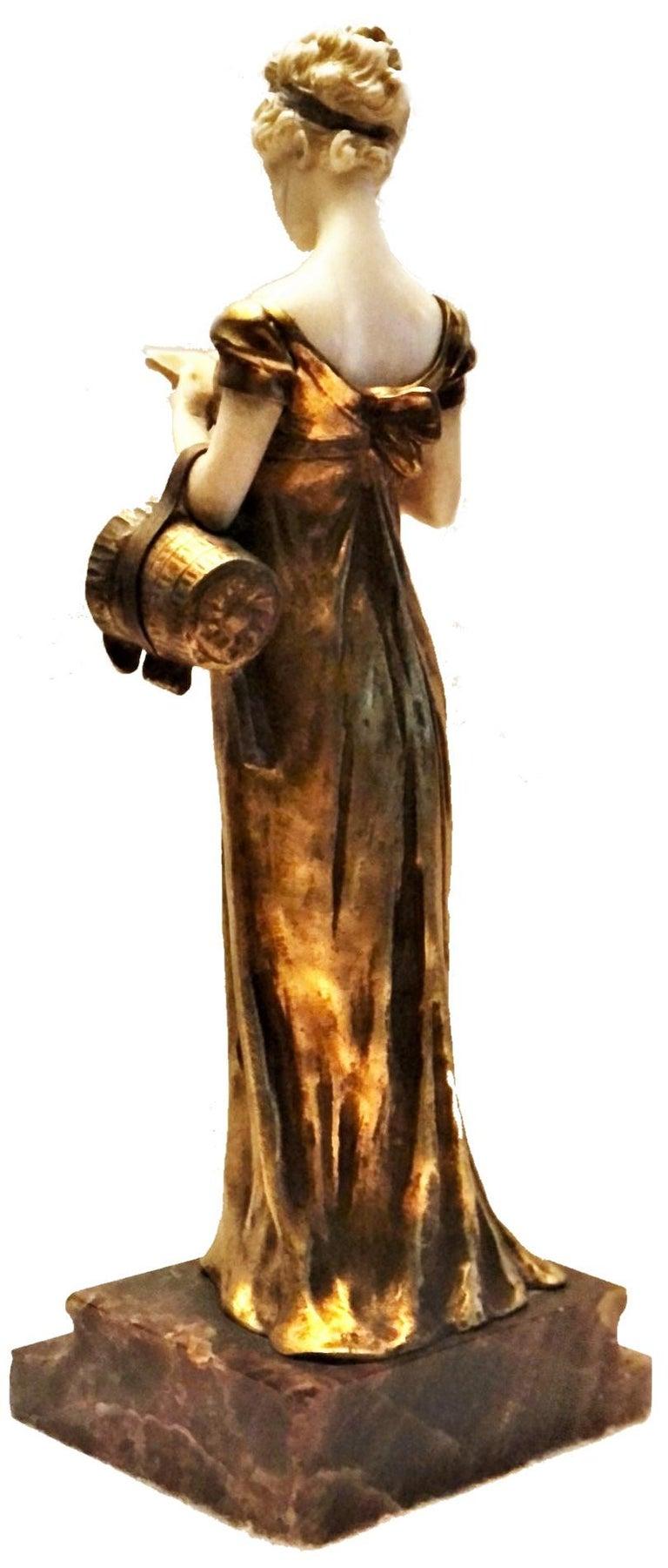 Belle Époque Georges Van Der Straeten, Book Reader, French Gilt Bronze Sculpture, 1888 For Sale