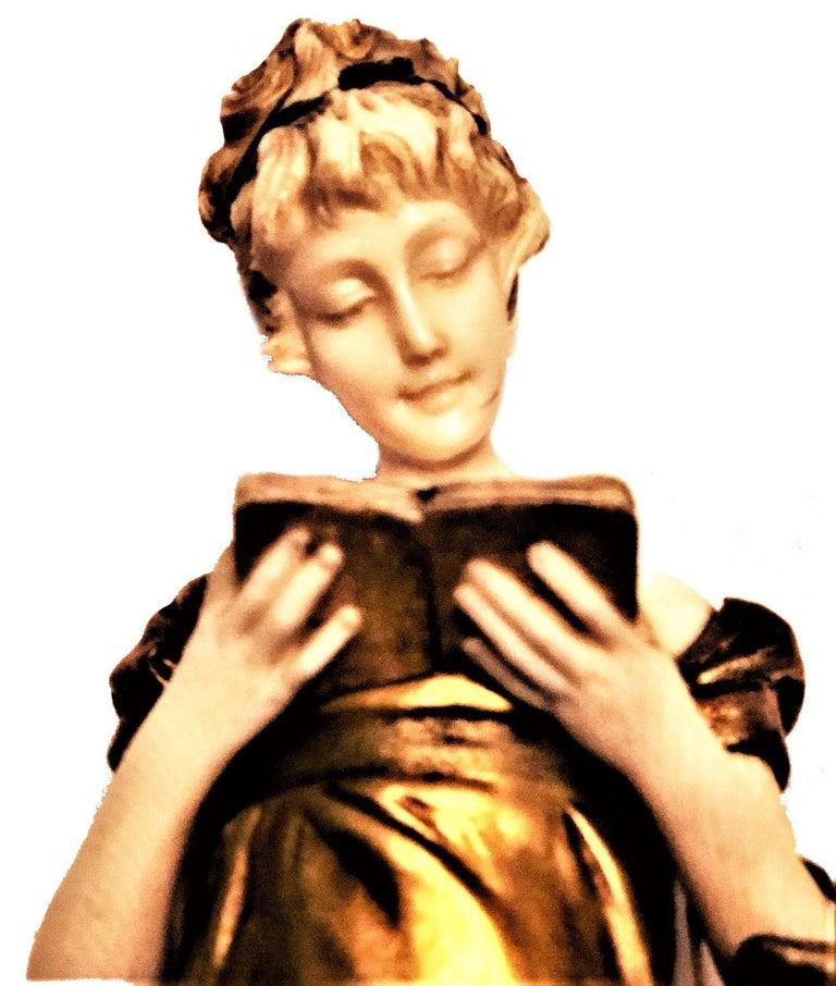 Late 19th Century Georges Van Der Straeten, Book Reader, French Gilt Bronze Sculpture, 1888 For Sale