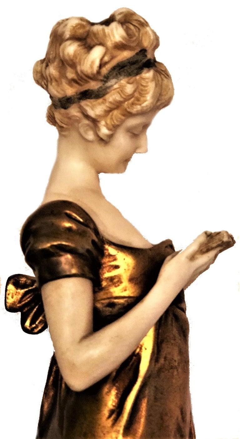 Georges Van Der Straeten, Book Reader, French Gilt Bronze Sculpture, 1888 For Sale 1