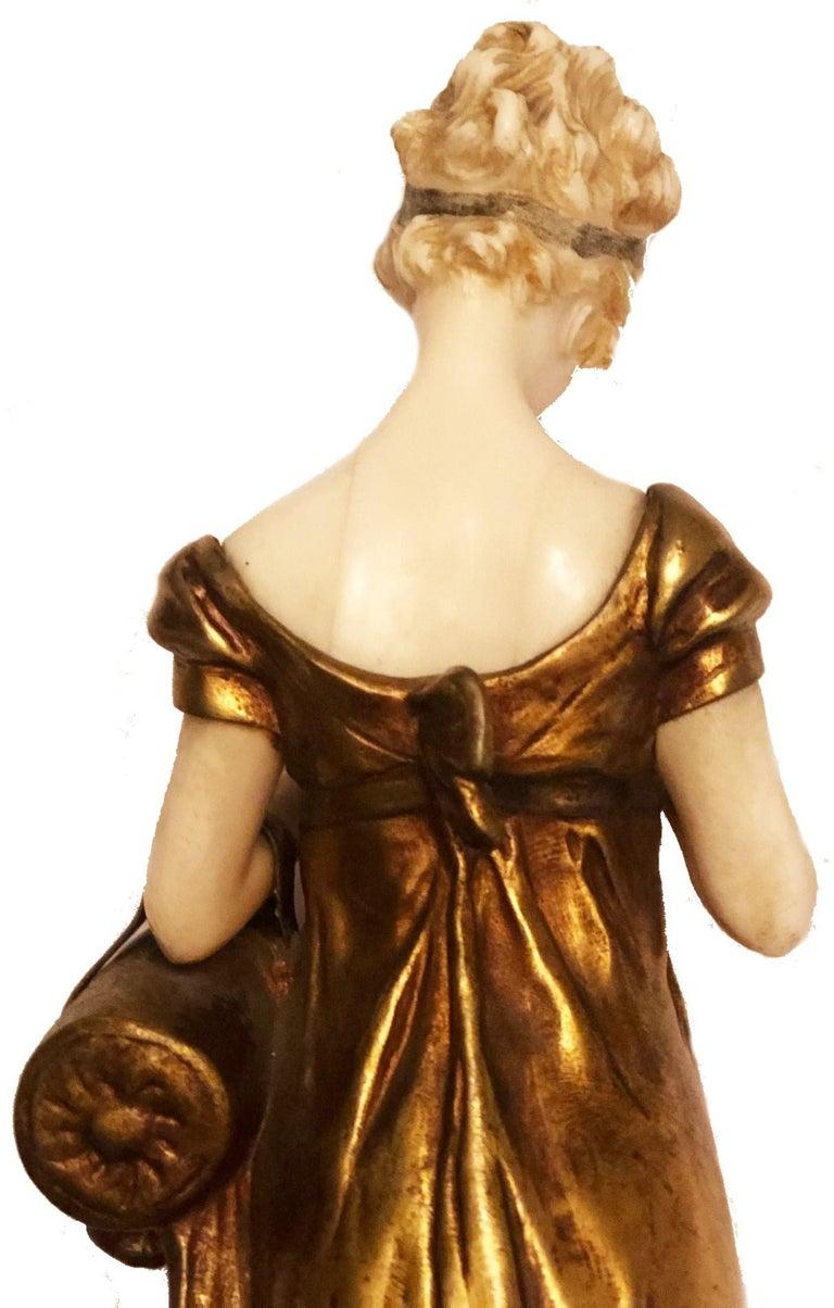 Georges Van Der Straeten, Book Reader, French Gilt Bronze Sculpture, 1888 For Sale 2
