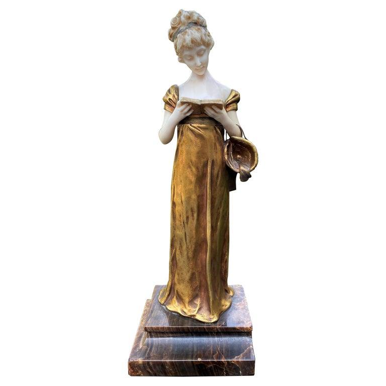 Georges Van Der Straeten, Book Reader, French Gilt Bronze Sculpture, 1888 For Sale