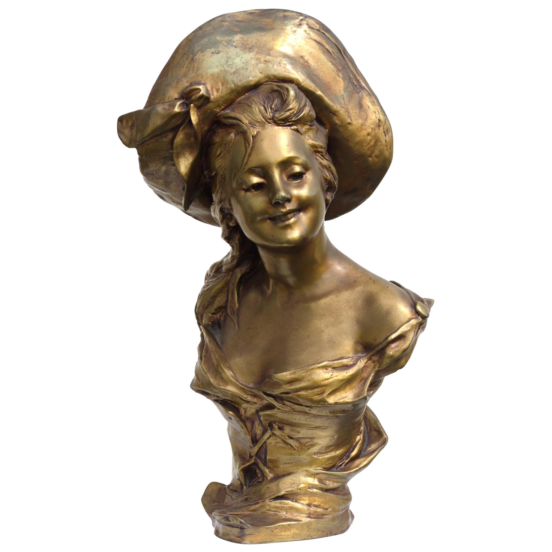 """Georges Van der Straeten """"Buste de jeune femme au chapeau"""""""
