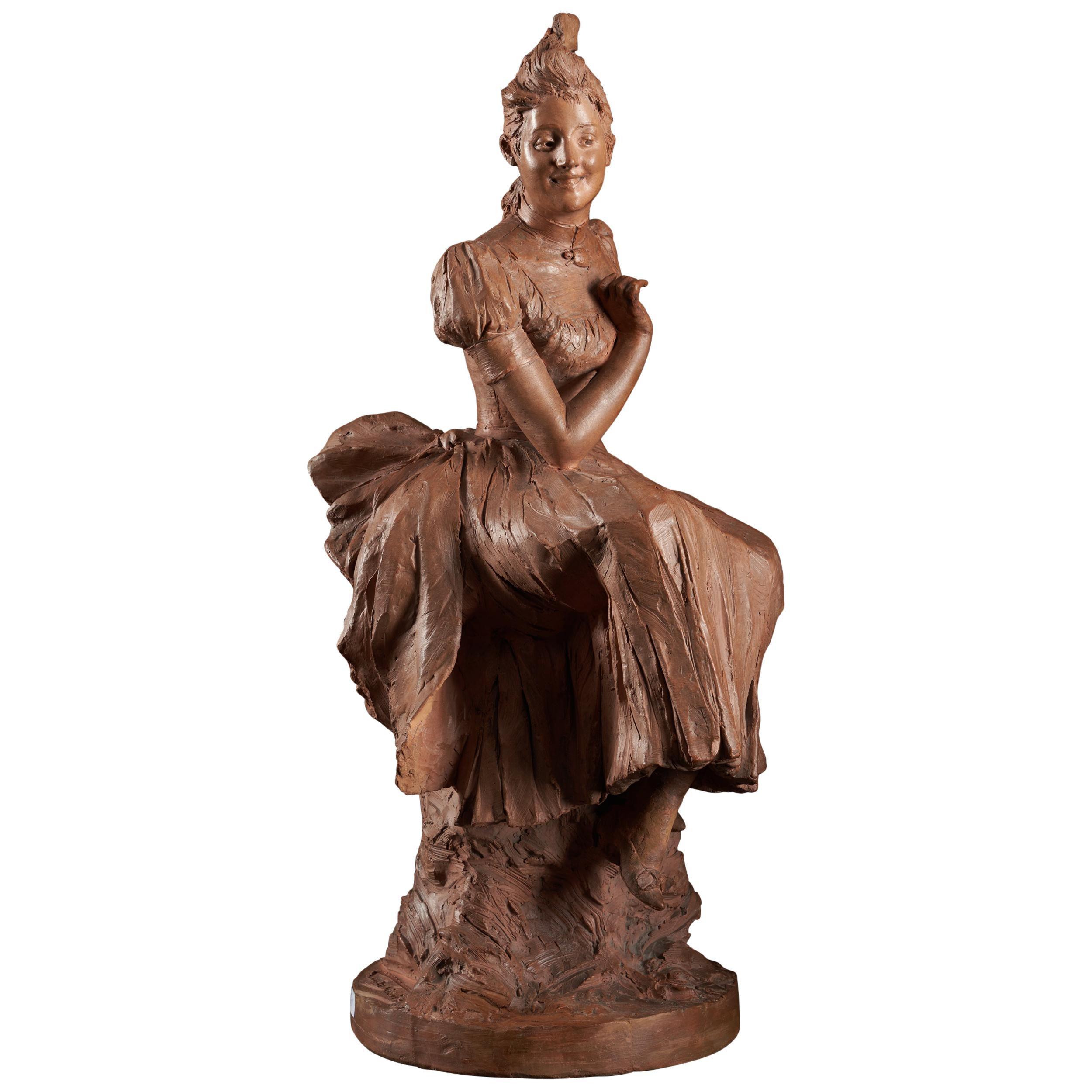 Georges Van der Straeten, Terracotta Sculpture of a Lady, Signed
