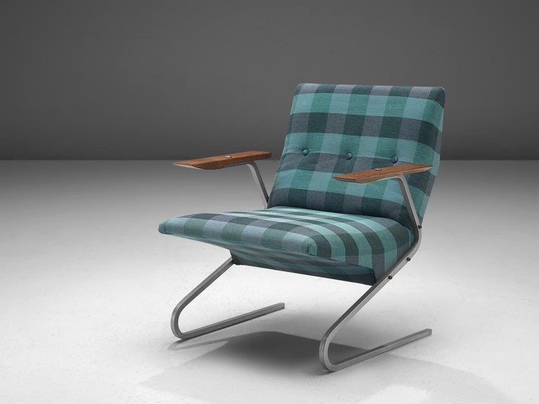 Georges van Rijck for Beaufort, 'Cantilever' lounge chair, fabric, wood and steel, Belgium, 1970s.  This playful 'Cantilever' armchair is designed by Georges van Rijck. The chair shows sharp lines and an angled, floating seat. The S-shaped frame