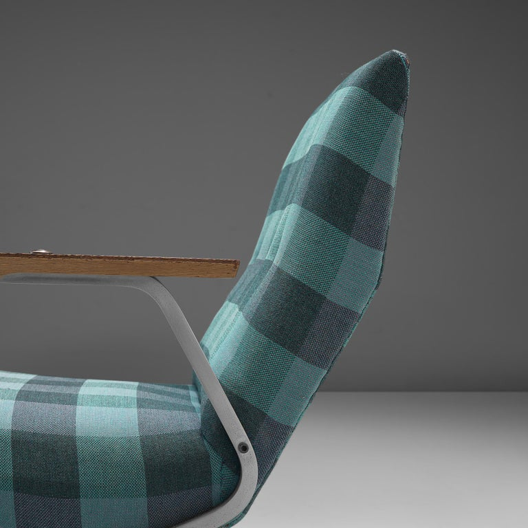 Mid-Century Modern Georges van Rijck 'Cantilever' Armchair in Blue Checkered Upholstery For Sale