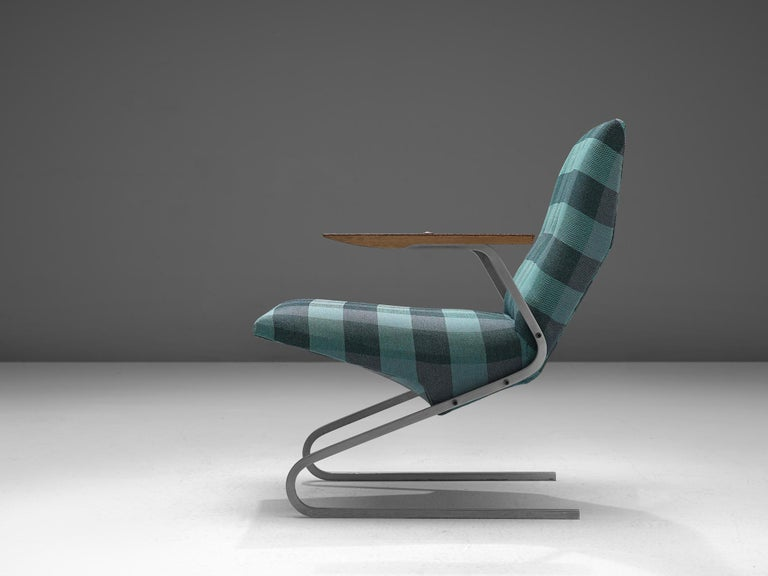 Belgian Georges van Rijck 'Cantilever' Armchair in Blue Checkered Upholstery For Sale