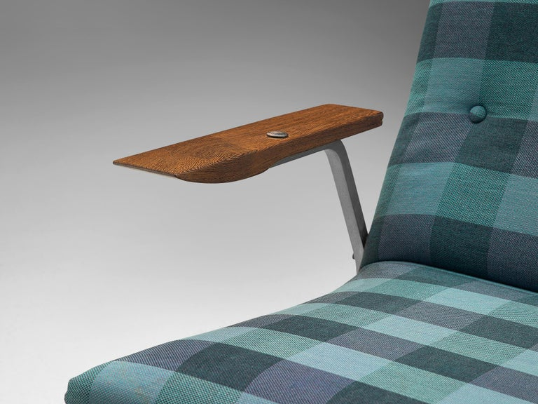Georges van Rijck 'Cantilever' Armchair in Blue Checkered Upholstery In Good Condition For Sale In Waalwijk, NL