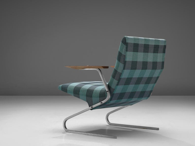 Late 20th Century Georges van Rijck 'Cantilever' Armchair in Blue Checkered Upholstery For Sale