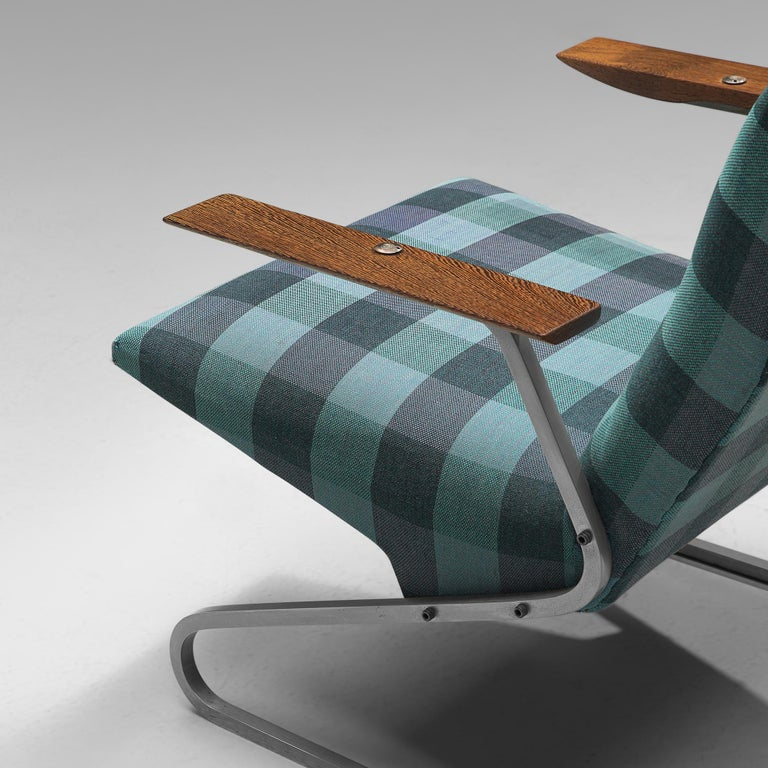 Steel Georges van Rijck 'Cantilever' Armchair in Blue Checkered Upholstery For Sale