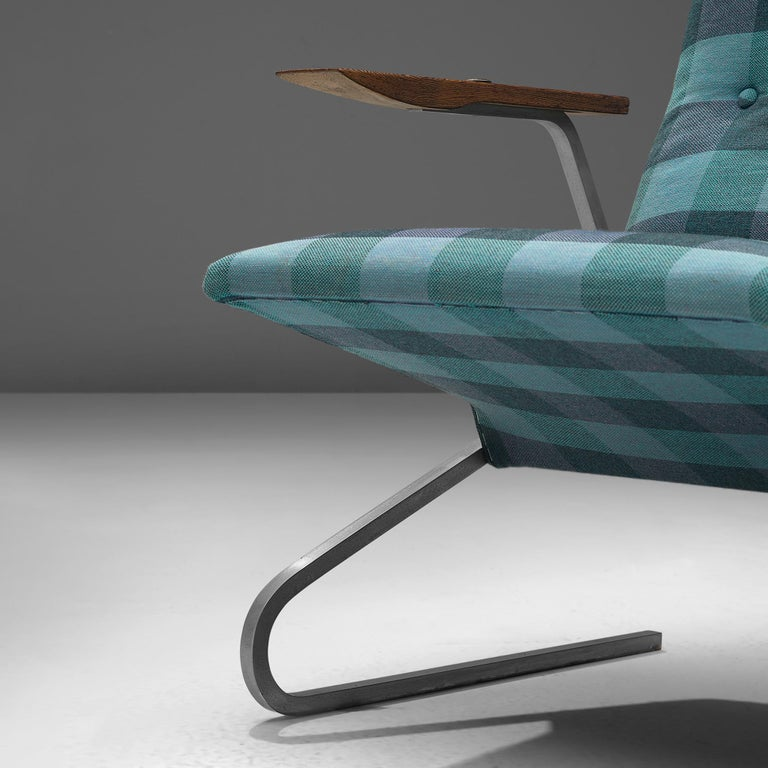 Georges van Rijck 'Cantilever' Armchair in Blue Checkered Upholstery For Sale 1