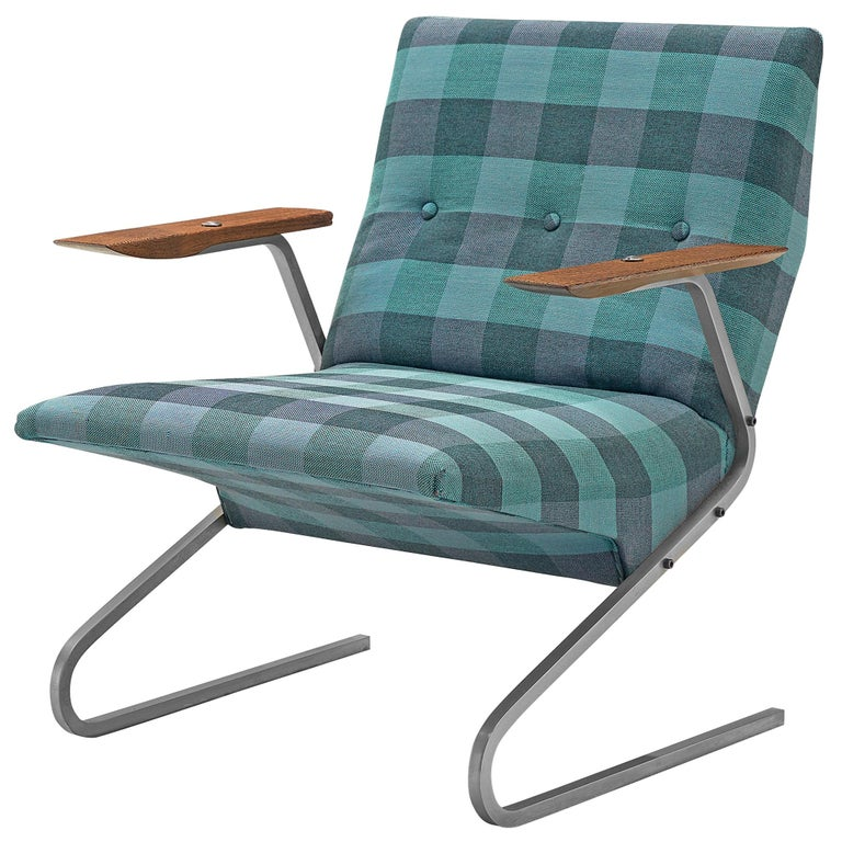 Georges van Rijck 'Cantilever' Armchair in Blue Checkered Upholstery For Sale