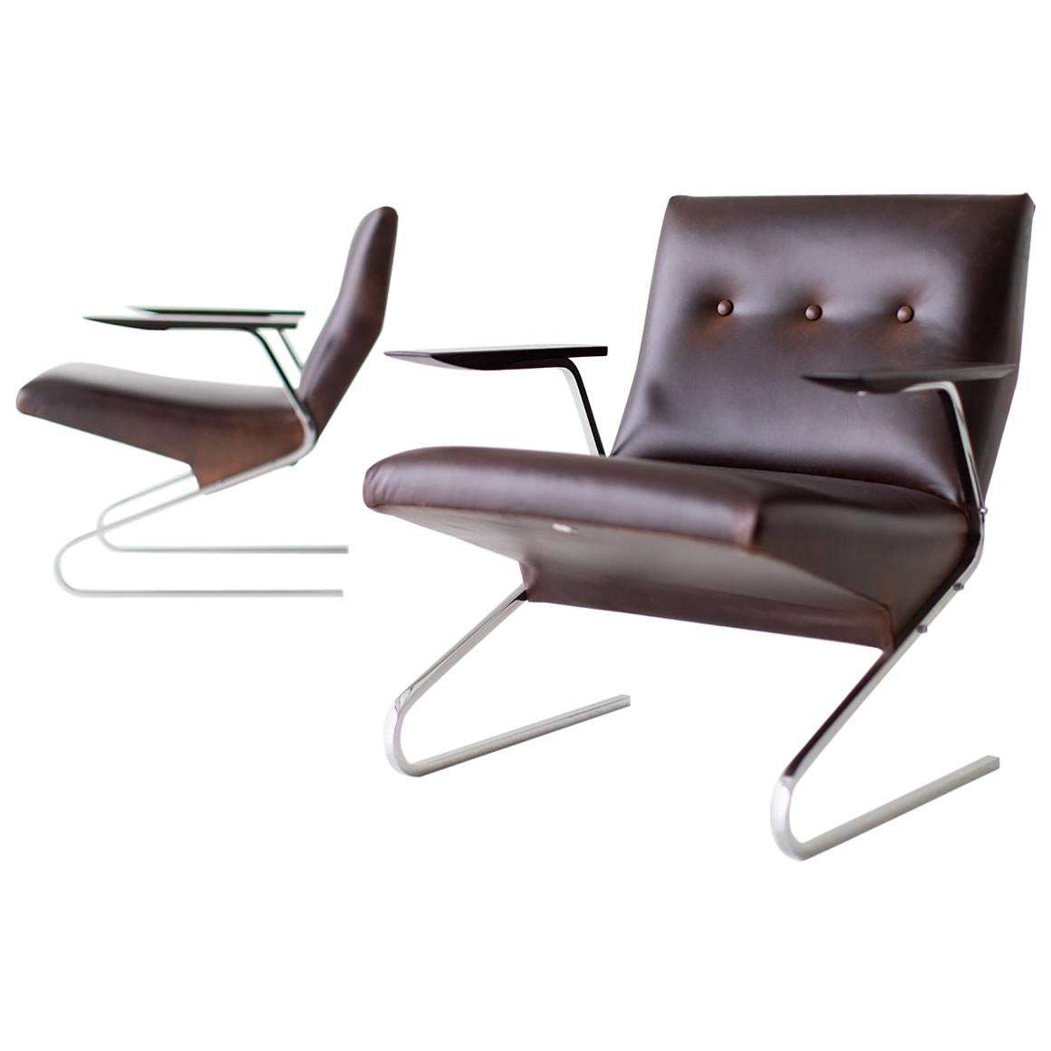 Georges Van Rijck Leather Lounge Chairs for Beaufort