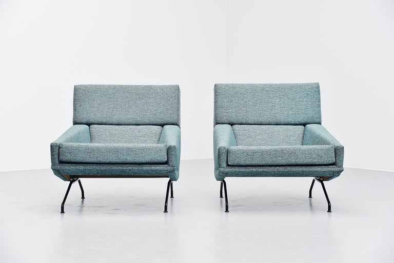 Cold-Painted Georges van Rijck Lounge Chairs Beaufort Belgium 1960 For Sale