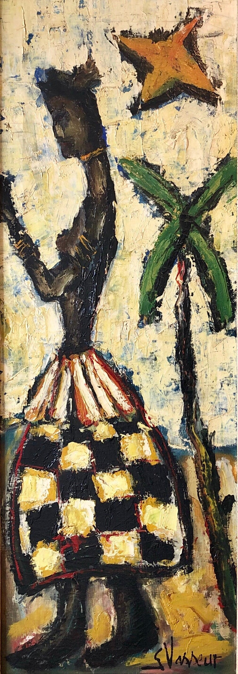French Expressionist Impasto Oil Painting African Island Girl Kente Cloth Skirt - Beige Nude Painting by Georges Vasseur